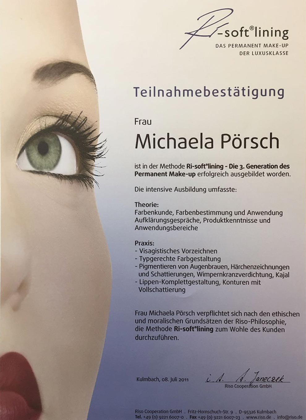 Teilnahmebestätigung Ri-soft Lining Permanent Make-up