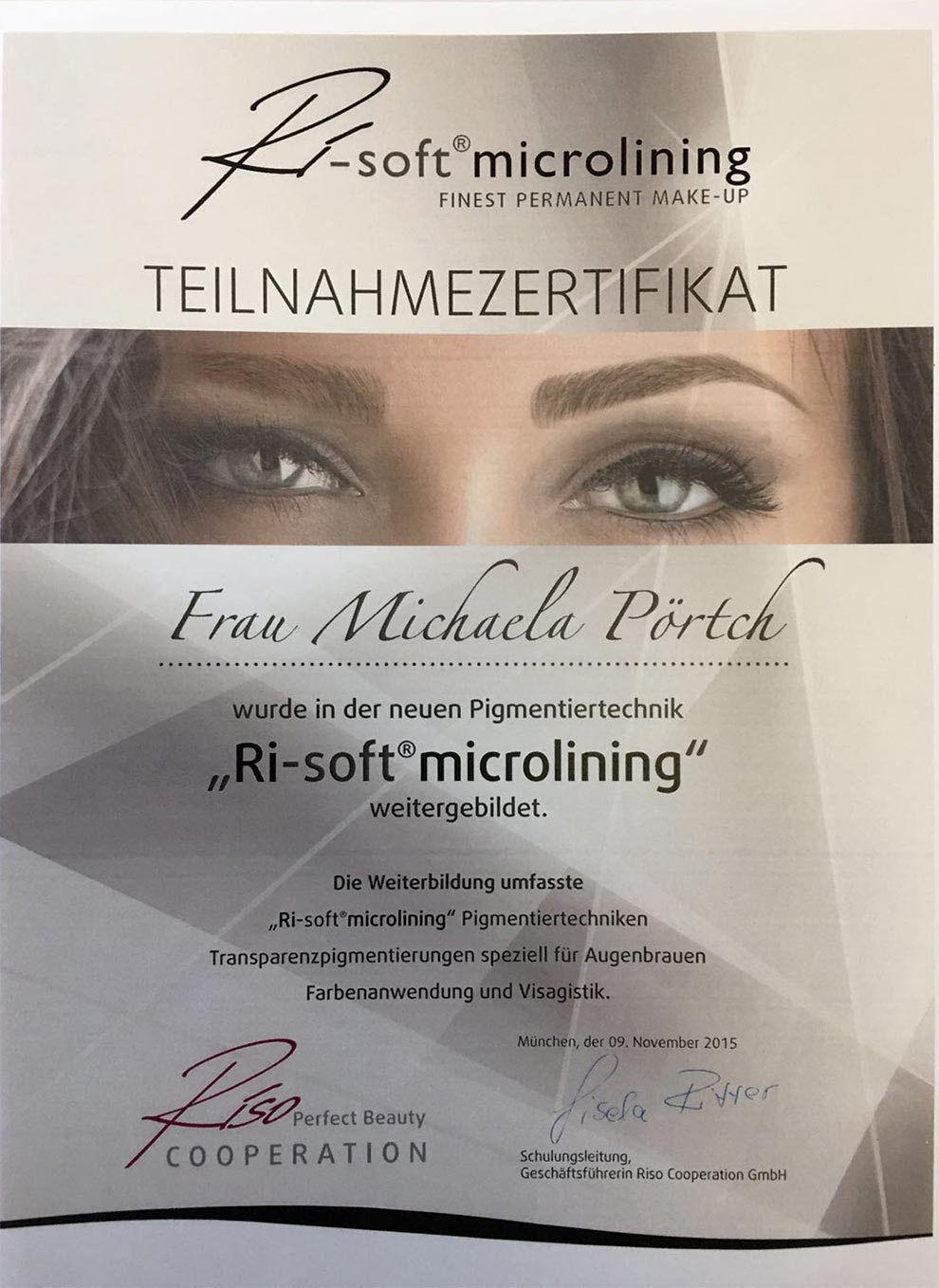 Teilnahmezertifikat Ri-soft Lining Permanent Make-up