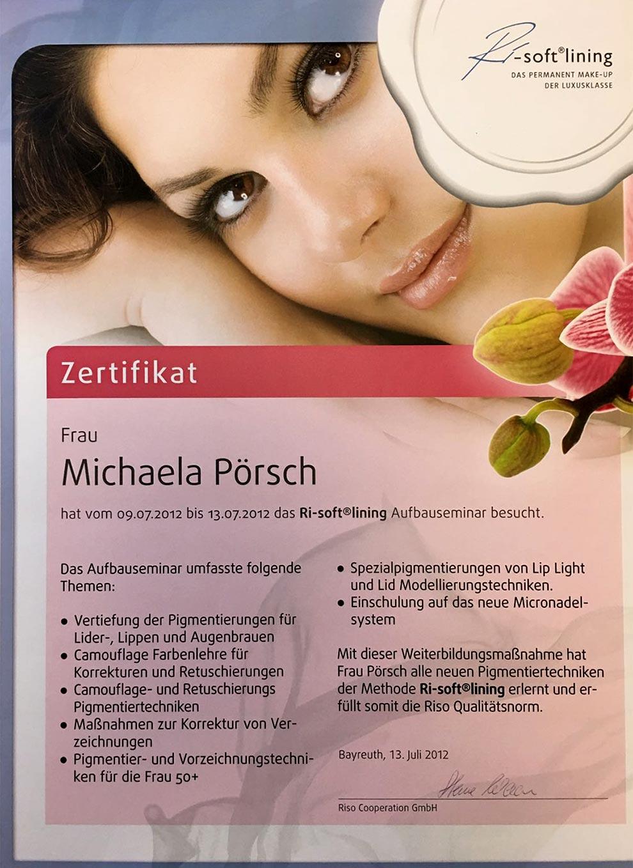 Zertifikat Ri-soft Lining Permanent Make-up